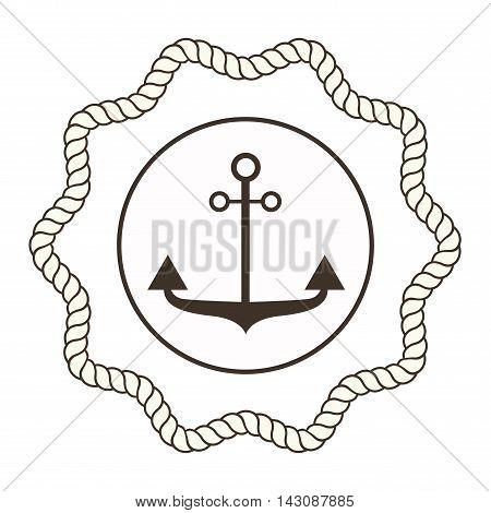 Vintage retro anchor badge and label. Vector sign anchor sea ocean ship, graphic element nautical symbol. Vintage retro marine emblem, label nautical anchor symbol and marine design emblem.