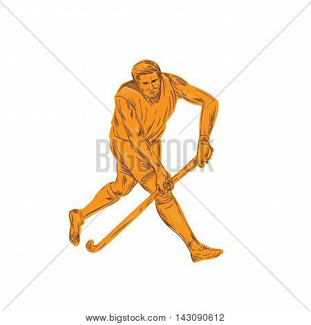 Drawing sketch style illustration of a field hockey player running with stick striking viewed from front set on isolated white background.
