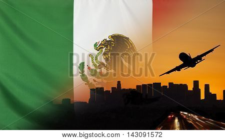 Travel and transport concept with skyline silhouette highway traffic and airplane at sunset merged with real fabric flag of Mexico