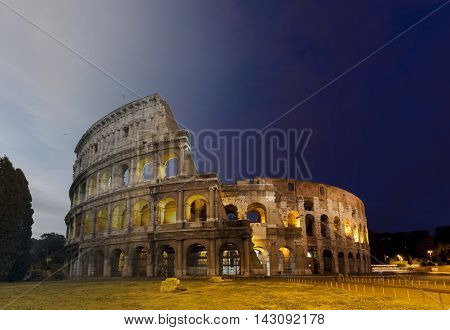 Colosseum Amphitheater in Rome Italy twilight and sunset transition concept