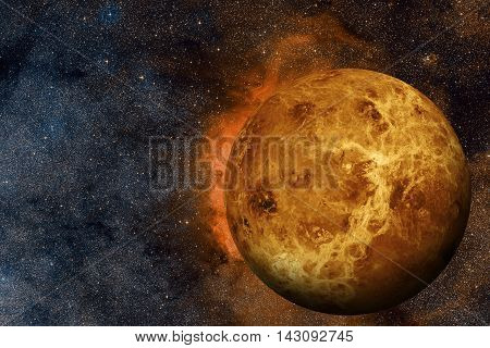 Solar System - Venus. It is the second planet from the Sun. It is a terrestrial planet. After the Moon it is the brightest natural object in the night sky. Elements of this image furnished by NASA.