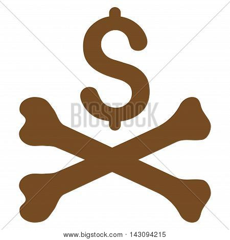 Mortal Debt icon. Vector style is flat iconic symbol with rounded angles, brown color, white background.