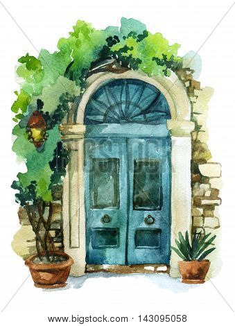 Watercolor traditional old-fashioned door with potted flowers brick stones and lantern. Rustic doorway with pillars isolated on white background. Hand painted illustration in vintage style