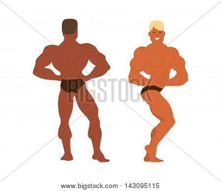Muscular, bearded man bodybuilder vector illustration. Fitness model bodybuilder, posing, bodybuilding style man. Isolated mens physics muscle sport healthy body. Gym fitness bodybuilder man