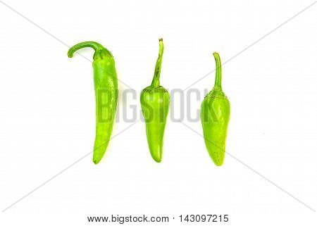 Three ripe green Chilli peppers on over white