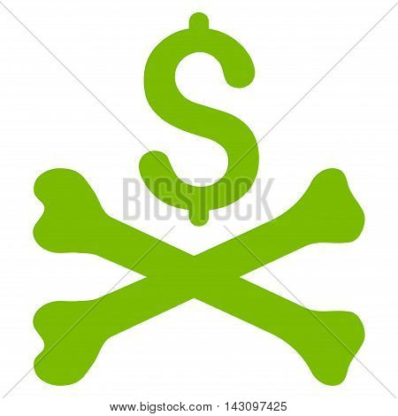 Mortal Debt icon. Vector style is flat iconic symbol with rounded angles, eco green color, white background.