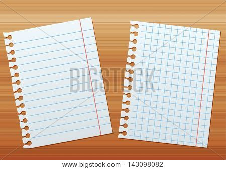two sheets of paper on the background of brown wood texture