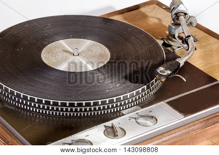 Front View Of Vintage Grungy Record Playing Turn Table
