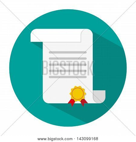 White unrolled paper diploma scroll with yellow stamp and red ribbons. Graduation concept. icon with long shadow. vector illustration in flat style on blue background