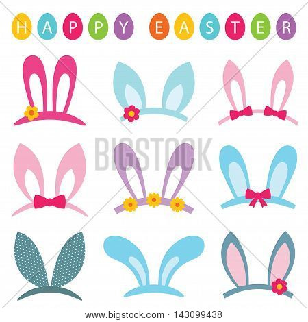 Easter bunny headband ears collection and eggs banner