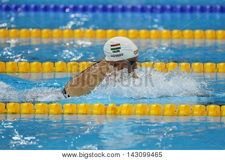 RIO DE JANEIRO, BRAZIL - AUGUST 8, 2016: Katinka Hosszu of Hungary competes in the Women's 100m backstroke Final of the Rio 2016 Olympic Games at the Olympic Aquatics Stadium