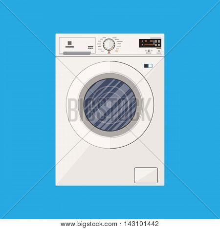 Modern white washing machine in flat style. Front view. vector illustration on blue background