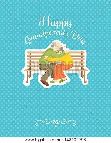 Grandparents Day. Vector design element. Grandpa and Granny hugs. Greeting card template