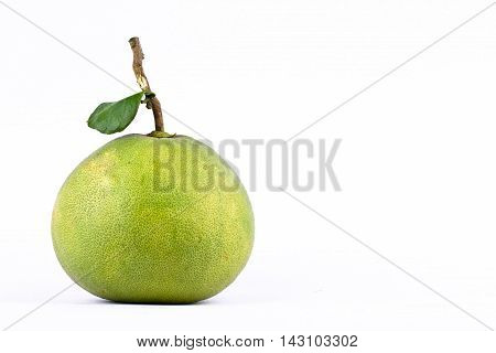 fresh green pomelos and leaf  pomelo on white background healthy fruit food isolated