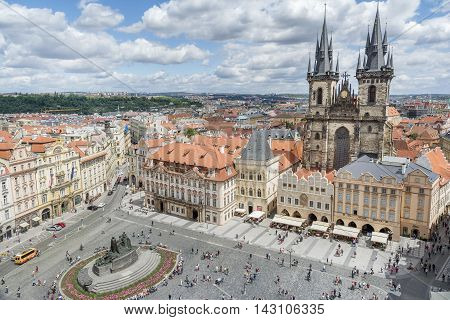 PRAGUE, CZECH REPUBLIC, JULY 6,2016: Aerial shot of Old Town Square, a historic square in the Old Town quarter of Prague, the capital of the Czech Republic.