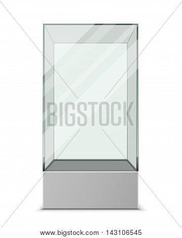 Empty glass showcase for exhibit isolated on a white background