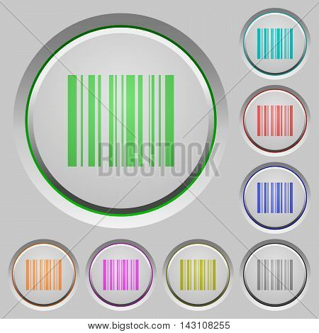 Set of color Barcode sunk push buttons.