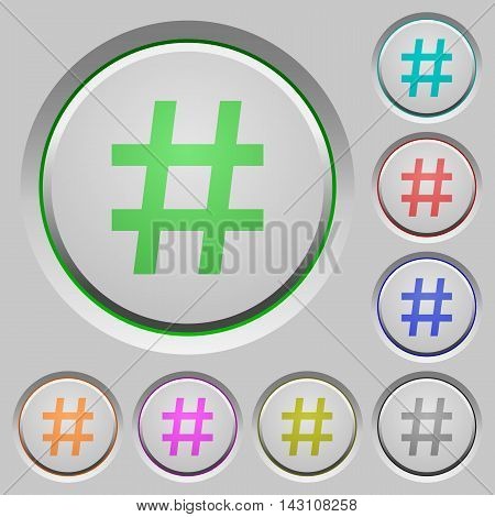 Set of color Hash tag sunk push buttons.