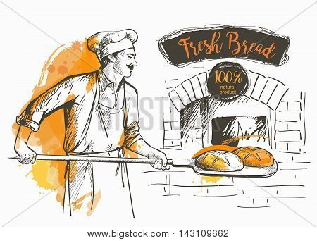 baker in uniform taking out with shovel baked bread from the oven