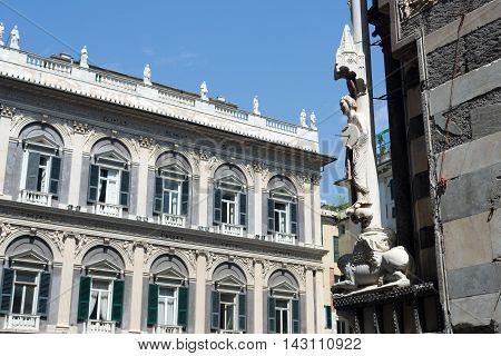 Arrotino Statue In Facade Of San Lorenzo Cathedral Of Genova, Italy.