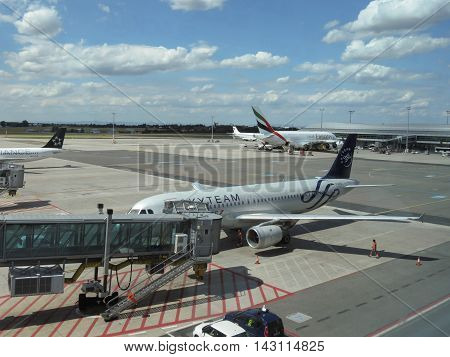 Airbus 737 Of The Skyteam And Airbus A380 Of The Emirates Airlin