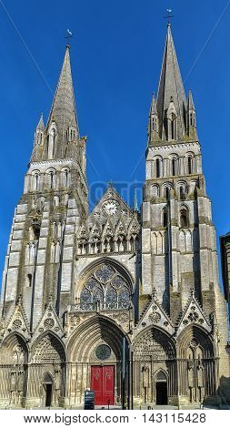 Bayeux Cathedral is a Norman-Romanesque cathedral located in the town of Bayeux France poster