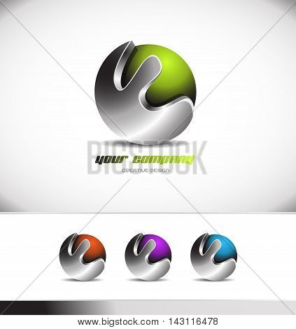 Green metal metallic sphere logo design 3d icon vector company element template