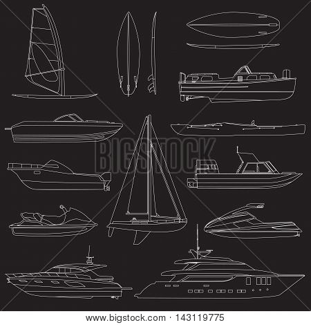 Set of linear boat. Sailing and motor boats, yacht, jet ski, boat, motor boat, cruise ship, windsurfing. Vector illustrations  isolated on white background.