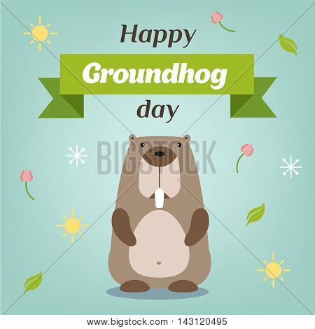 Happy Groundhog Day. Vector illustration with groundhog.