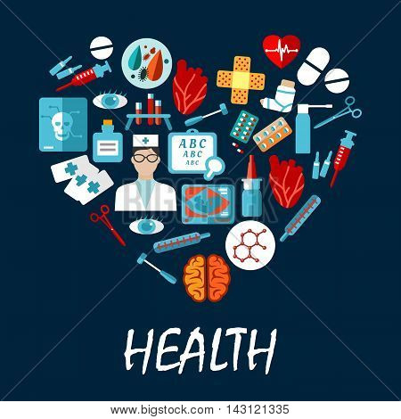 Medical symbols infographic poster in heart shape. Vector icons of health care equipment syringe, scalpel, nurse, pill, tooth, x-ray, stethoscope, ambulance, blood, capsule ointment