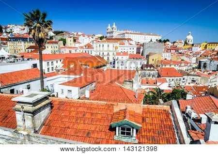 Lisbon Portugal. Cityscape with traditional architecture Alfama district Lisboa portuguese capital.