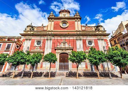 Seville Andalusia Spain. Baroque style church of El Salvador in Plaza del Salvador 17-18th century.