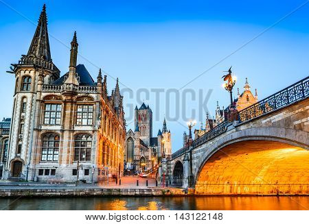 Gent Belgium. The historic center of Ghent (Gand) embankment Graslei at night. Former center of the medieval harbor in Flanders.
