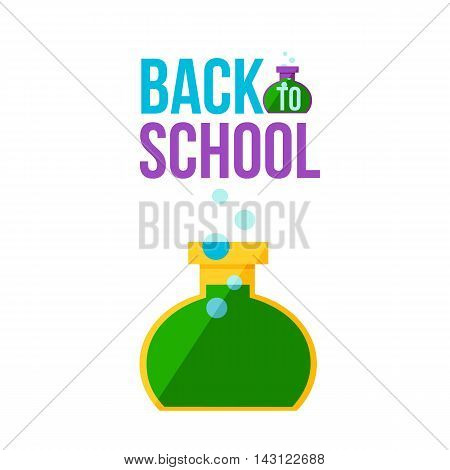 Back to school poster with round chemical retort illustration isolated on white background. Start of school season concept, poster card design with scientific symbol of educational process