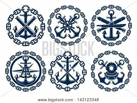 Marine and nautical emblems, icons, badges. Graphic insignia elements of anchor, chain, steering wheel, submarine, sextant, bombs cannons swords