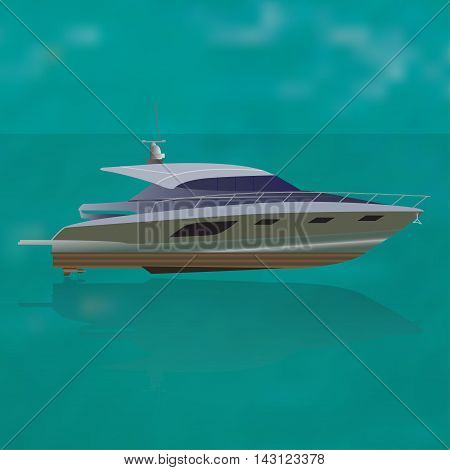Luxure private motor yacht  out at sea, vector illustration