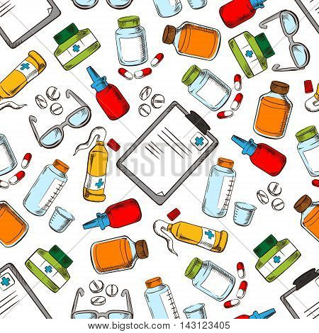 Medical seamless background. Wallpaper with vector pattern icons of ophthalmology supplies and medications eye drops, dropper, ointment, pills, vial, glasses, prescription