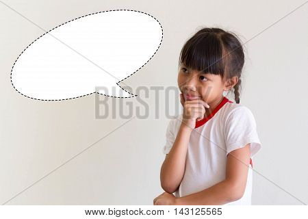 Student Asian Children Is Thinking For Something, Education Concept