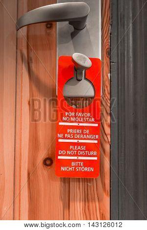 Door sign hanger on a handle - Do Not Disturb
