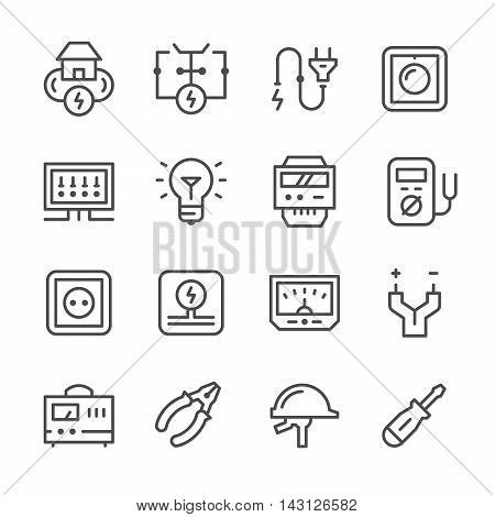 Set line icons of electricity isolated on white. Vector illustration