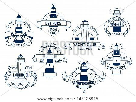 Lighthouse. Yacht Club and Bar isolated emblems set. Nautical sketch insignia badge with elements of ribbon, text for sport club, restaurant, eatery, hotel, resort sign