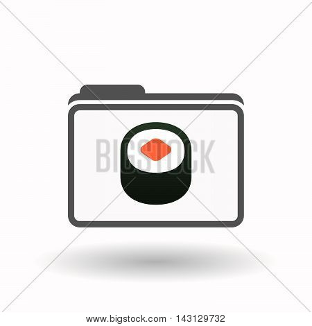 Isolated  Line Art  Folder Icon With A Piece Of Sushi Maki