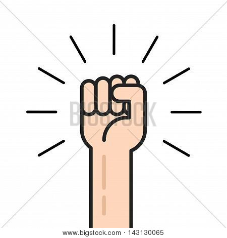 Fist hand up vector icon isolated, flat outline style logo, concept of win, freedom, revolution symbol
