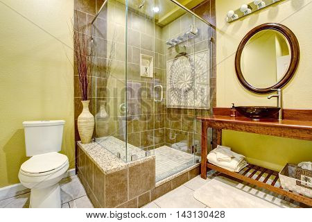 Modern Bathroom Interior With Glass Door Shower And Vessel Sink