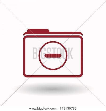 Isolated  Line Art  Folder Icon With A Subtraction Sign