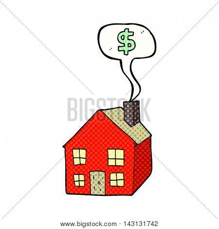 freehand drawn comic book speech bubble cartoon housing market