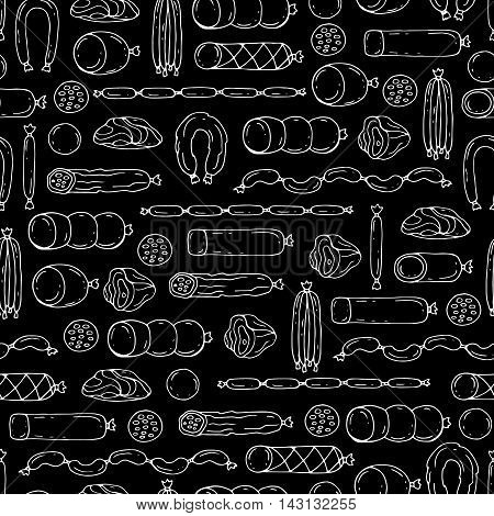 Vector seamless pattern with hand drawn isolated sausage products on black color. Pattern on the theme of food. Background for use in design, packing, web site, fabrics