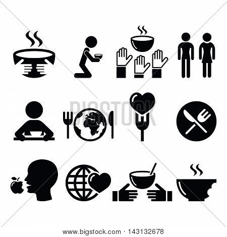 Hunger, starvation, poverty icons set - social issues, vector poster