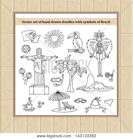 Vector set of hand drawn isolated doodles with symbols of Brazil. Flat illustrations on the theme of travel tourism. Sketches for use in design, web site, packing, textile, fabric