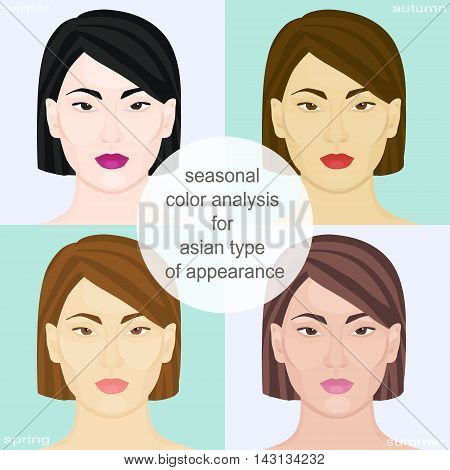 Seasonal color analysis for asian type of appearance. Set of vector girls